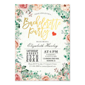 Watercolor Floral Bachelorette Party Invitation