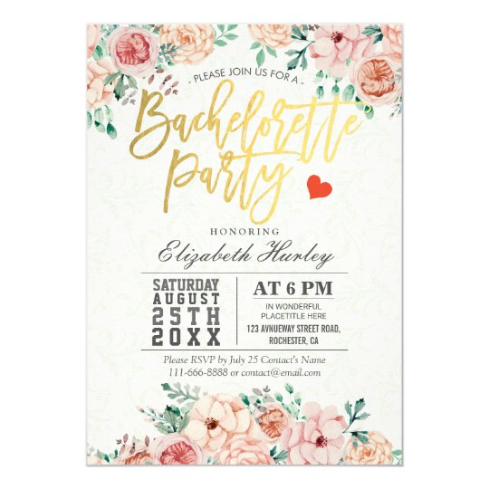 Watercolor Floral Bachelorette Party Invitation Zazzle Com