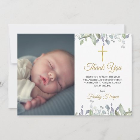 Watercolor Floral Baptism, Christening Photo Thank You Card