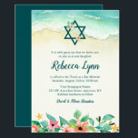 """Watercolor Floral Beach Bat Mitzvah Invitation<br><div class=""""desc"""">This elegant beach themed Bat Mitzvah invitation is perfect for your special day! The design features tropical watercolor flowers,  Star of David and ocean waves on the sand.</div>"""