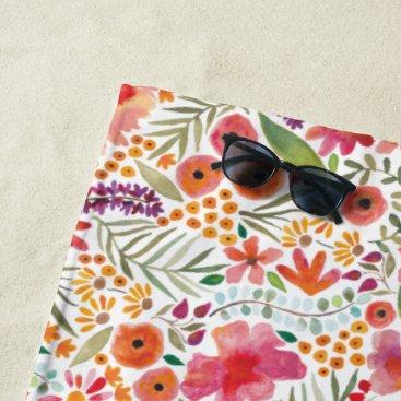 Beach Themed Watercolor Floral Beach Towel