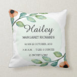 "Watercolor Floral Birth Stats Announcement Pillow<br><div class=""desc"">A beautiful watercolor floral birth stats announcement pillow. This design features watercolor flowers and leaves and the ability to customized your baby&#39;s birth records.</div>"