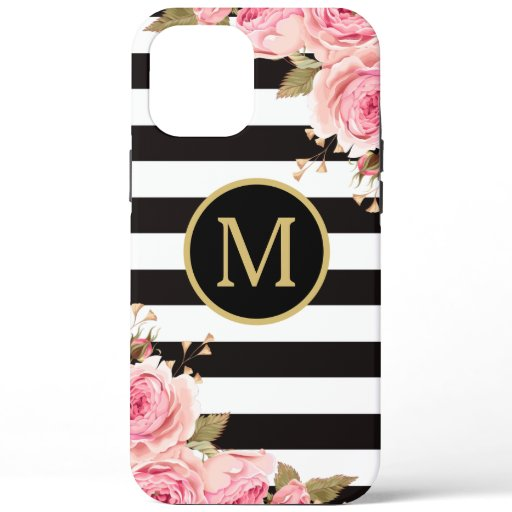 Watercolor Floral Black and White Stripes Monogram iPhone 12 Pro Max Case