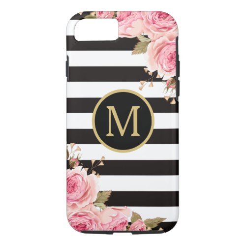 Watercolor Floral Black and White Stripes Monogram Phone Case