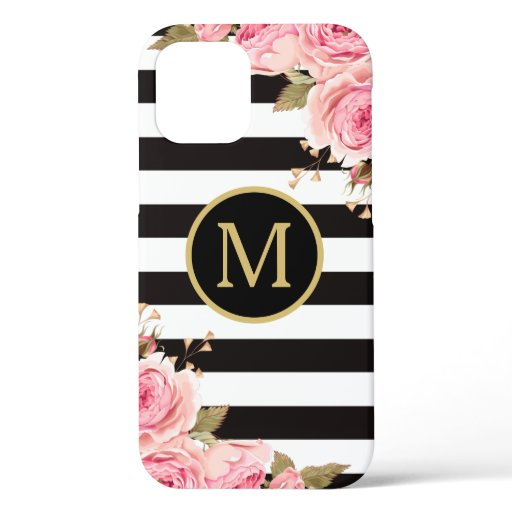 Watercolor Floral Black and White Stripes Monogram iPhone 12 Case