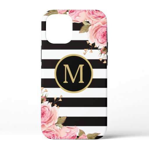 Watercolor Floral Black and White Stripes Monogram iPhone 12 Mini Case