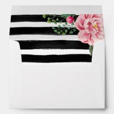 Watercolor Floral Black White Stripes 5x7 Wedding Envelope at Zazzle