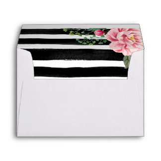 Watercolor Floral Black White Stripes 5x7 Wedding Envelope