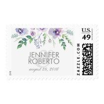 watercolor floral blue purple vintage wedding postage