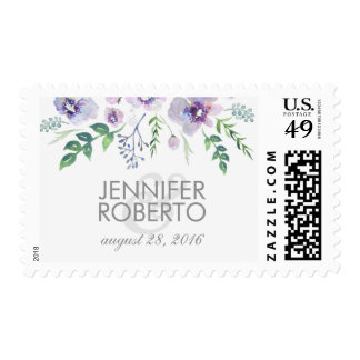 watercolor floral blue purple vintage wedding postage