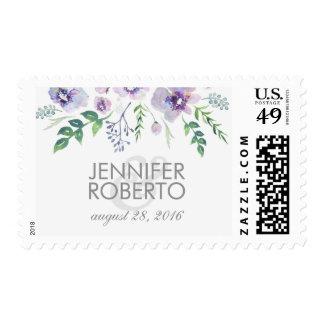 watercolor floral blue purple vintage wedding postage stamp