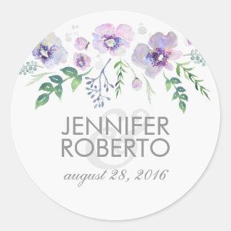 Watercolor Floral Blue Purple Wedding Classic Round Sticker