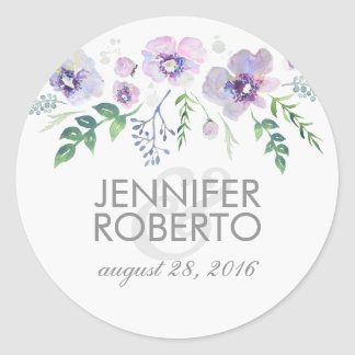 Watercolor Floral Blue Purple Wedding Classic Round Sticker