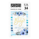Watercolor Floral Blue Wave Stripes Baby Shower Postage