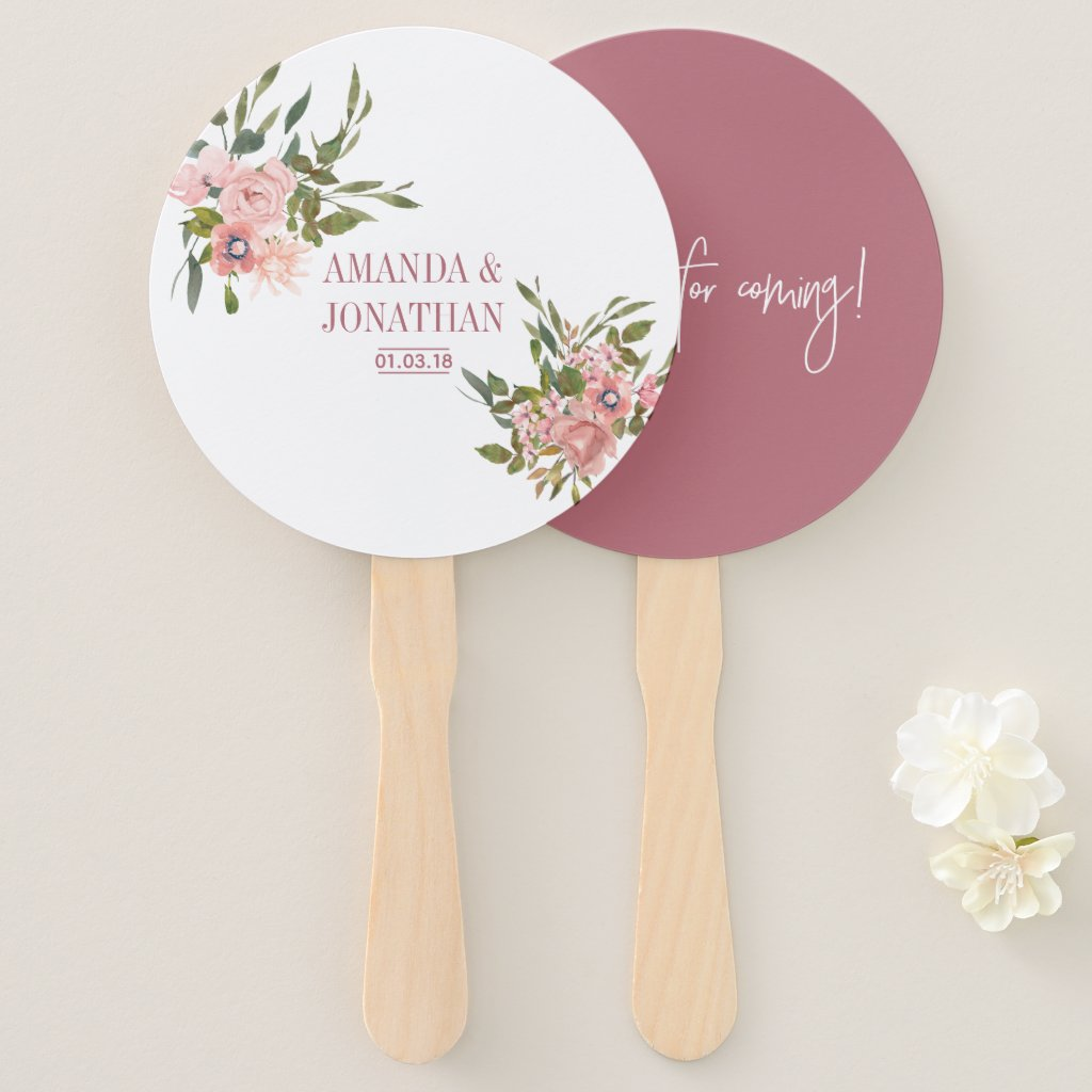 Watercolor floral Blush and Rose Gold Wedding Hand Fan