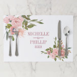 """Watercolor floral Blush and Rose Gold Wedding Paper Placemat<br><div class=""""desc"""">Trendy Blush pink roses and gold leaves Wedding placemats customizable to your event specifics.</div>"""