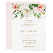 Watercolor Floral Blush Gold Wedding Invitation