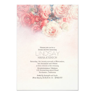 watercolor floral blush pink bridal shower 5x7 paper invitation card