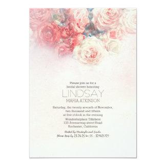 watercolor floral blush pink bridal shower 5x7 paper invitation card