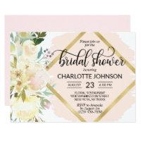 Watercolor Floral Blush Pink Gold Bridal Shower Invitation