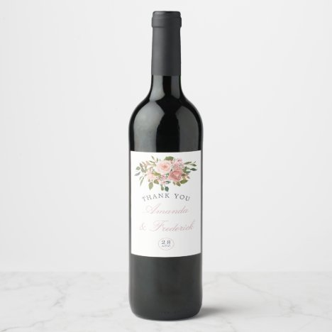 Watercolor floral Blush Pink Roses Wedding Wine Label