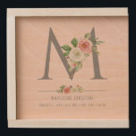 "Watercolor Floral Blush Roses Baby Birth Stats Wooden Keepsake Box<br><div class=""desc"">Hand painted watercolor monogram (you can change the letter and move the flowers around to customize).  Your daughter or granddaughter"