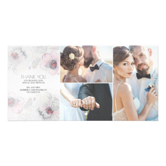 Watercolor Floral Boho Feathers Grey Soft Wedding Card