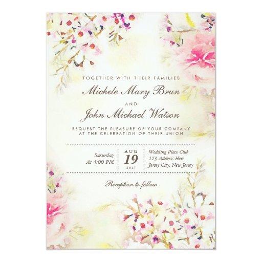 Watercolor Floral Boho Vintage Wedding Invitation Zazzle