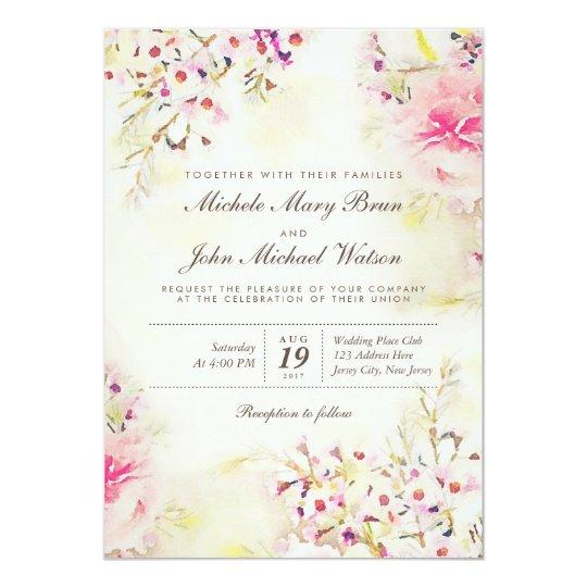 Watercolor Floral Boho Vintage Wedding Invitation – Floral Vintage Wedding Invitations