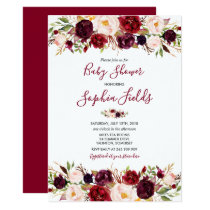Watercolor Floral Botanical Baby Shower Invitation