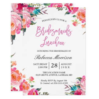 Watercolor Floral Botanical Bridesmaids Luncheon Card