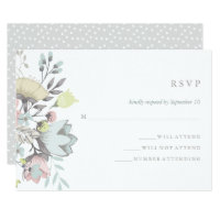 Watercolor Floral Botanical Wedding RSVP Card