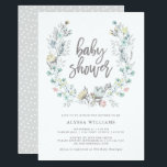 "Watercolor Floral Botanical Wreath | Baby Shower Invitation<br><div class=""desc"">This simple and stylish baby shower invitation features a sweet watercolor wreath,  with modern typography. The soft gray shade is perfect for either a girl or a boy.</div>"