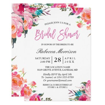 CardHunter Watercolor Floral Botanical Wreath Bridal Shower Card