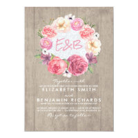 Watercolor Floral Botanical Wreath Rustic Wedding Card