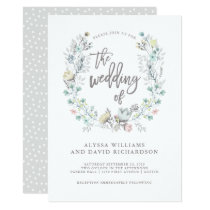 Watercolor Floral Botanical Wreath | Wedding Card
