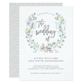 watercolor floral botanical wreath wedding card - Watercolor Wedding Invitations