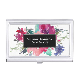 Watercolor Floral Bouquet Case For Business Cards