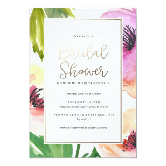 WATERCOLOR FLORAL bridal shower invitation GOLD
