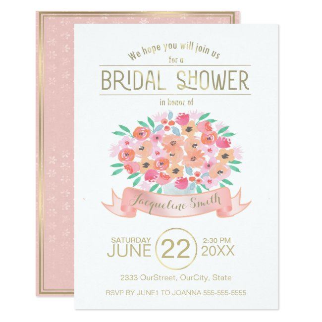 Watercolor Floral Bridal Shower Invitation ID302