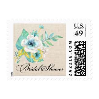 Watercolor Floral Bridal Shower Postage Stamps