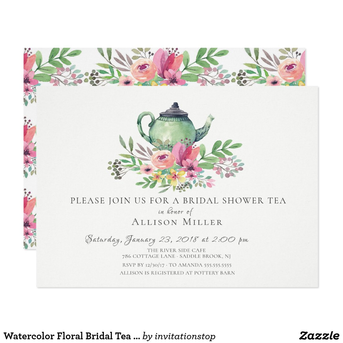 Watercolor Floral Bridal Tea Party Invitation