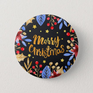 Watercolor floral bright golden Merry Christmas Button