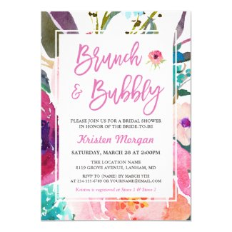 Watercolor Floral Brunch and Bubbly Bridal Shower Invitation