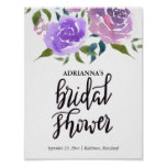 Watercolor Floral Bunch Bridal Shower Script Poster