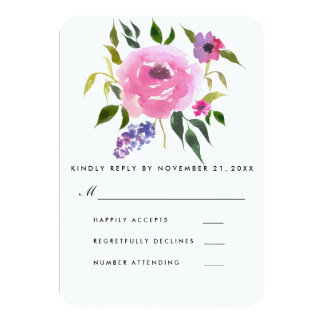 Watercolor Floral Bunch Wedding RSVP Card