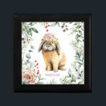 """Watercolor Floral Bunny Rabbit Personalized Name Gift Box<br><div class=""""desc"""">This cute design features a watercolour painting of a rabbit with a crown of flowers with your personalized name below. Personalize by editing the text in the text box provided. Perfect for Easter,  Mother's Day,  birthday and Christmas for women,  girls,  mom,  grandmother,  best friends and sisters.</div>"""