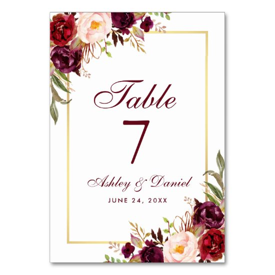 Watercolor Floral Burgundy and Gold Wedding Table Number