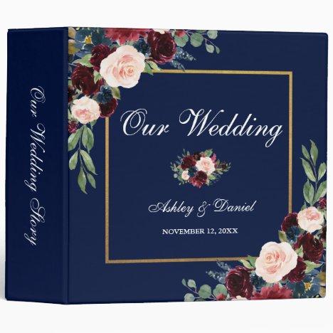 Watercolor Floral Burgundy Blue Gold Wedding 3 Ring Binder