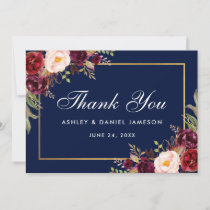 Watercolor Floral Burgundy Blue Wedding Thanks Thank You Card